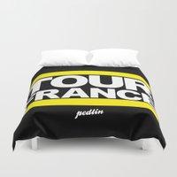 tour de france Duvet Covers featuring Tour de France by Pedlin