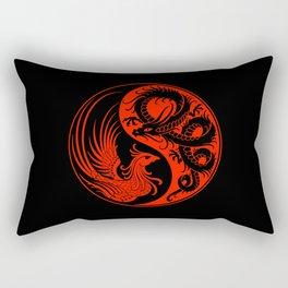 Red and Black Dragon Phoenix Yin Yang Rectangular Pillow