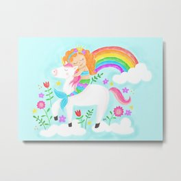Unicorns, Mermaids & Rainbows...Oh My! Metal Print