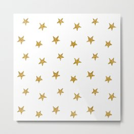 Merry christmas-Stars shining brightly-Gold glitter pattern Metal Print