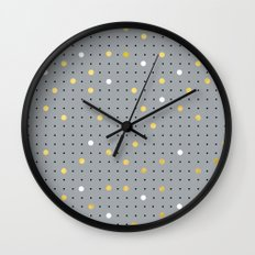 Pin Points Grey, Gold and White Wall Clock