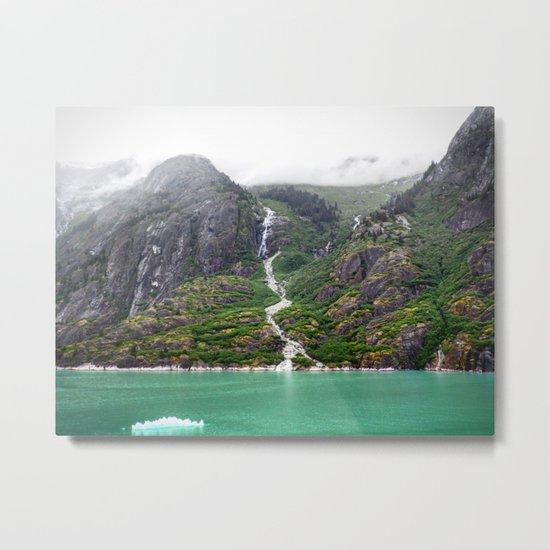 Mountainside Waterfall Metal Print