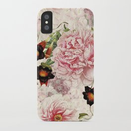 Vintage & Shabby Chic Pink Floral Peonies Flowers Watercolor Pattern iPhone Case
