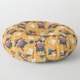 Cute pirate illustration + pattern Floor Pillow