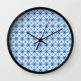 Chinoiseries Porcelain Tiles Blue Wall Clock