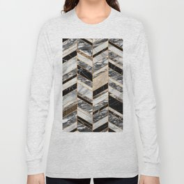 Abstract Chevron Pattern - Black and White Marble Long Sleeve T-shirt