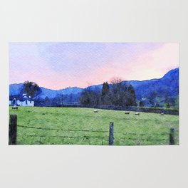 Sheep on the farm at Dawn in Grasmere,Lake District, UK Watercolour Painting Rug