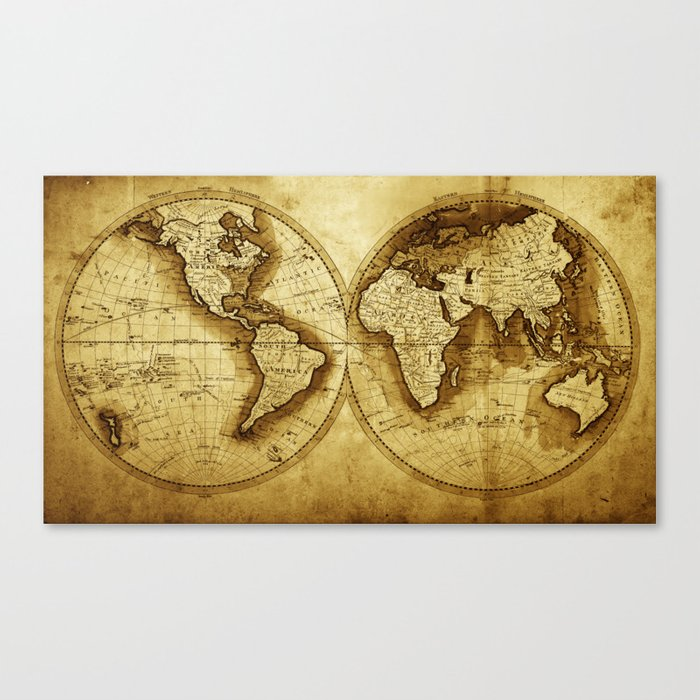 Antique Map of the World Canvas Print by foxxmap | Society6