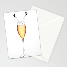 Drowning in champagne Stationery Cards