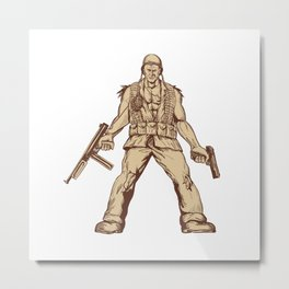 World War Two American GI Soldier Drawing Metal Print