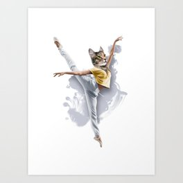Dancing Cat Girl Pepe Psyche Art Print