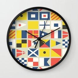 Geometric Nautical flag and pennant Wall Clock