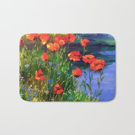 Poppies at the pond Bath Mat