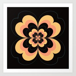 Vintage Flower Design in Sherbet Pink and Buttery Yellow On Black Art Print