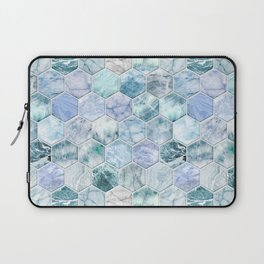 Ice Blue and Jade Stone and Marble Hexagon Tiles Laptop Sleeve