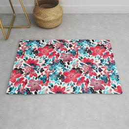 Happy Red Flower Collage Rug