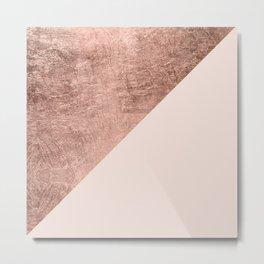 Minimalist blush pink rose gold color block geometric Metal Print