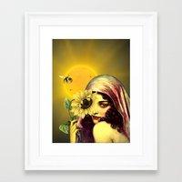 sunflower Framed Art Prints featuring SUNFLOWER by Julia Lillard Art