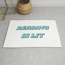 READING IS LIT blue Rug