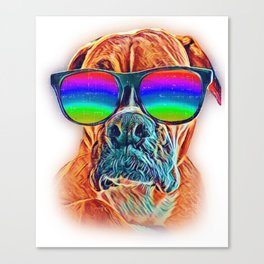 Boxer Colorful Neon Dog Sunglasses Canvas Print