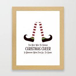 Christmas Cheer Sharing Wine Framed Art Print