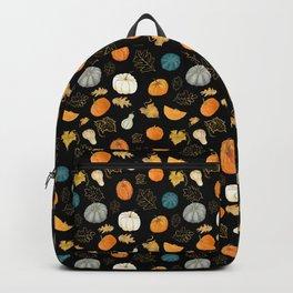 Halloween Pumpkins and Gold Leaf Pattern - black palette Backpack