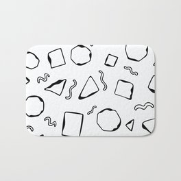 Wiggly Shapes in black on white Bath Mat