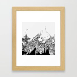 Modern contemporary Black and White Abstract Framed Art Print