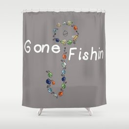 Gone Fishin Fishing Lures and Hooks on Gray Background Shower Curtain