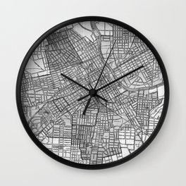 Vintage Map of Nashville Tennessee (1920) BW Wall Clock