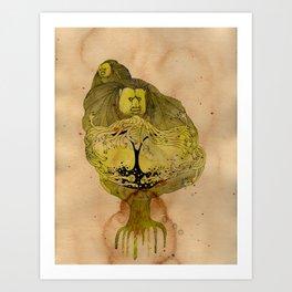 Monkey Battle Art Print