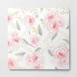 Summer Pink Rose Pattern  Metal Print