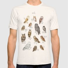 Owls Mens Fitted Tee LARGE Natural