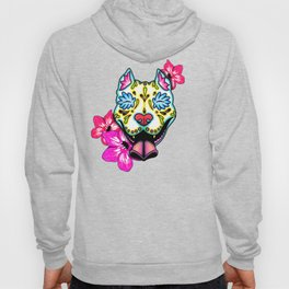 Slobbering Pit Bull - Day of the Dead Sugar Skull Pitbull Hoody