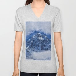 Summit of Mount Everest in clouds Unisex V-Neck