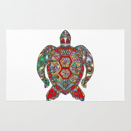 Colorful Sea Turtle Abstract Mandala Rug