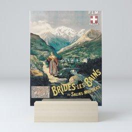 altes Plakat brides les bains et salins moutiers plm savoie brides les bains Mini Art Print