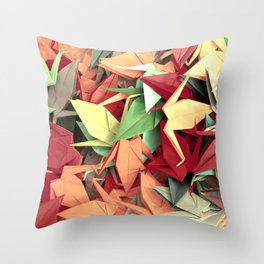 Senbazuru | reds n greens Throw Pillow