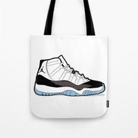 "air jordan Tote Bags featuring Air Jordan XI Retro ""Concord"" by Graphkicks"