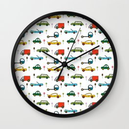 Transport, White, Red and Blue. Cars, Trucks and Bikes. Wall Clock
