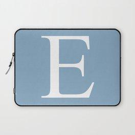 Letter E sign on placid blue color background Laptop Sleeve