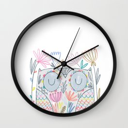 Flower Owl Wall Clock