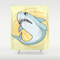 shark Shower Curtains featuring Shark by Christie Kovalchick