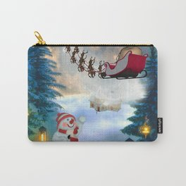 Christmas, snowman with Santa Claus Carry-All Pouch