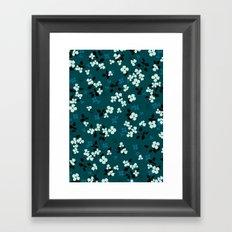 Green pattern floral composition Framed Art Print