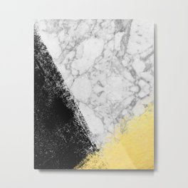 Marble with Black & Gold - gold foil, gold, marble, black and white, trendy, luxe, gold phone Metal Print