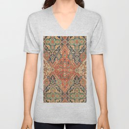 Geometric Leaves VII // 18th Century Distressed Red Blue Green Colorful Ornate Accent Rug Pattern Unisex V-Neck