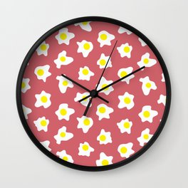 Eggs Over Red Wall Clock