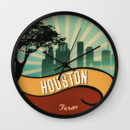 Houston City Skyline Texas Retro Design Vintage 80s Wall Clock