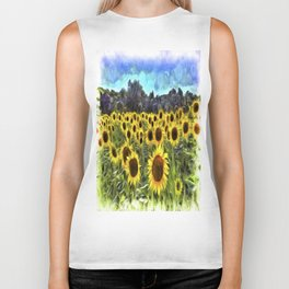 Sunflower Field Vincent Van Goth Biker Tank